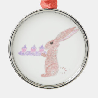 Bunny Brings Out The Cupcakes Metal Ornament