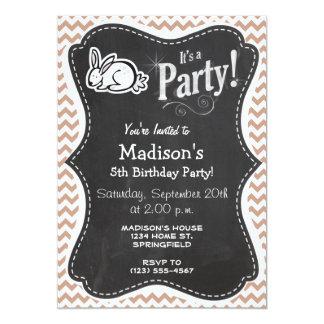 Bunny; Brown Chevron 5x7 Paper Invitation Card