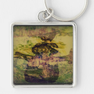 BUNNY BROWN   KEY CHAIN Silver-Colored SQUARE KEYCHAIN