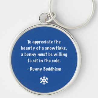 """Bunny Buddhism """"Beauty of a Snowflake"""" Keychain"""