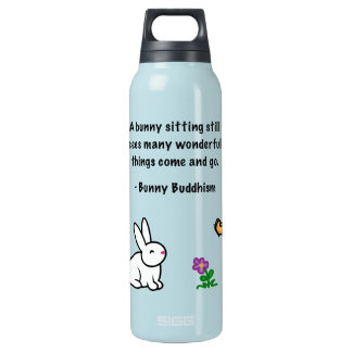 "Bunny Buddhism ""Bunny Sitting Still"" Insulated Water Bottle"