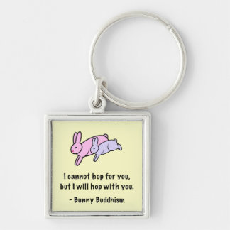"""Bunny Buddhism """"Hop with You"""" Keychain"""
