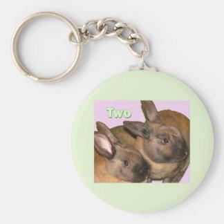 Bunny Bunnies Two Bunnies Basic Round Button Keychain