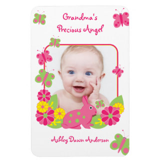 Bunny Butterfly Baby Photo Template Magnet Rectangle Magnets