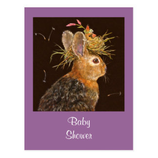 bunny/cardinal baby shower postcard
