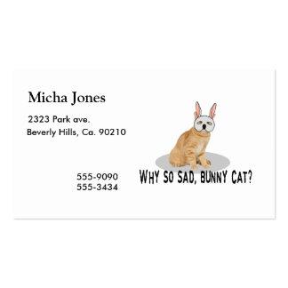 Bunny Cat Sad Business Card