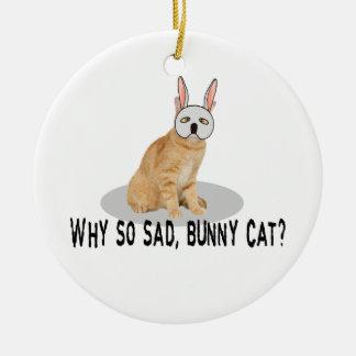 Bunny Cat Sad Ceramic Ornament
