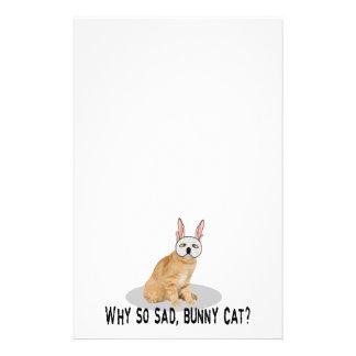 Bunny Cat Sad Customized Stationery