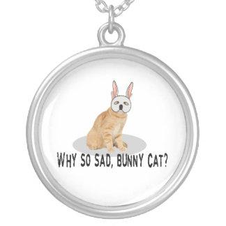 Bunny Cat Sad Round Pendant Necklace