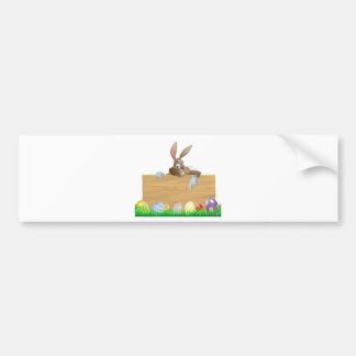 Bunny character pointing and Easter eggs Bumper Sticker