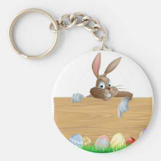Bunny character pointing and Easter eggs Keychain
