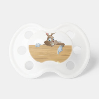 Bunny character pointing and Easter eggs Pacifiers