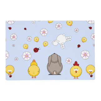bunny, chickens and little ladybird placemat