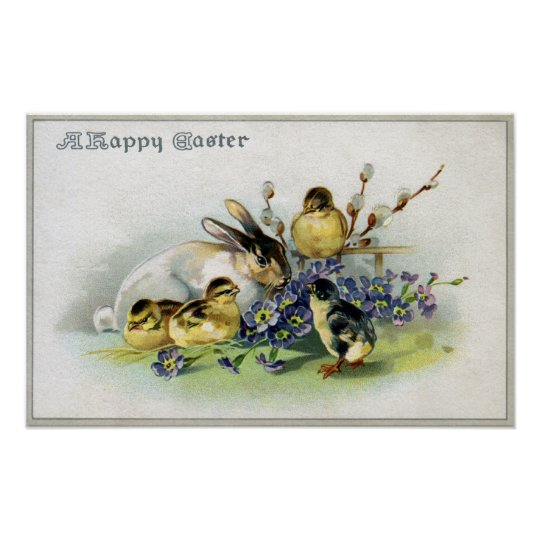 Bunny, Chicks and Primroses Vintage Easter Poster