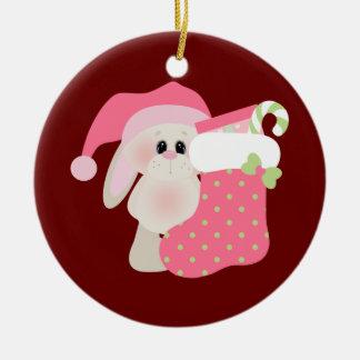 Bunny Christmas Ceramic Ornament