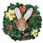 "Bunny Christmas ornament<br><div class=""desc"">Fawn Flemish Giant bunny rabbit looks through a wreath photo acrylic cut out Christmas ornament,  comes with a red ribbon tie</div>"