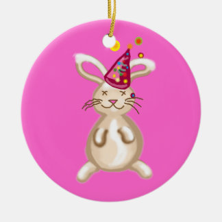 Bunny Christmas party Double-Sided Ceramic Round Christmas Ornament