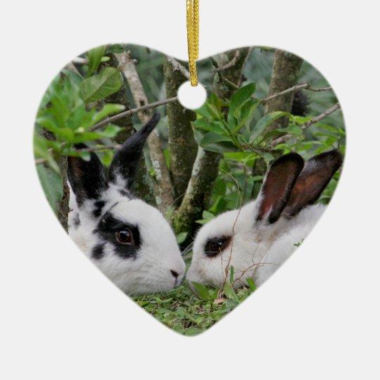 Bunny Couple Ceramic Ornament
