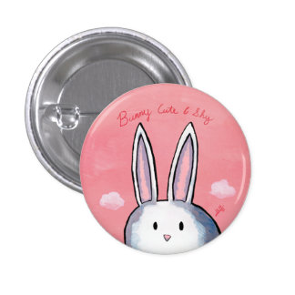Bunny Cute & Shy Button - Pink