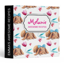 Bunny cutie polka dots bow pattern binder