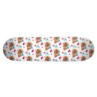Bunny cutie polka dots bow pattern skateboard