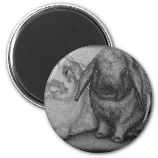 Bunny Drawing Rabbit Animal Chalk Art 2 Inch Round Magnet