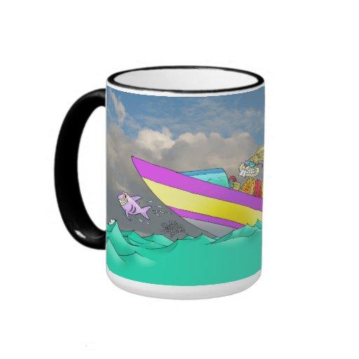 Bunny driving a speed boat, on a mug. ringer mug
