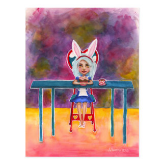 Bunny eared Alice postcard