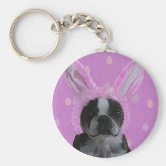 Bunny ears 2 basic round button keychain