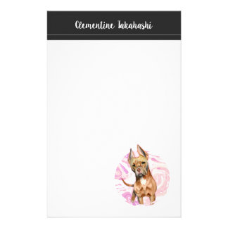 """""""Bunny Ears"""" 3 Pit Bull Dog Watercolor Painting Stationery"""