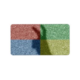 Bunny ears shadow four color grid address label