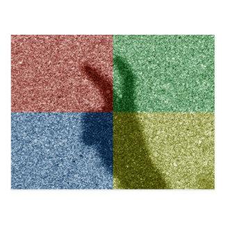 Bunny ears shadow four color grid postcard