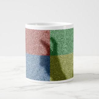 Bunny ears shadow four color grid 20 oz large ceramic coffee mug