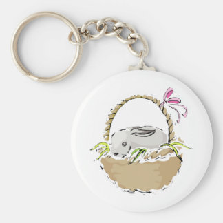 Bunny Easter Basket Basic Round Button Keychain
