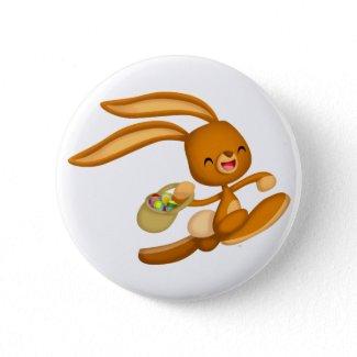 Bunny Easter on the Loose!! cartoon button badge button