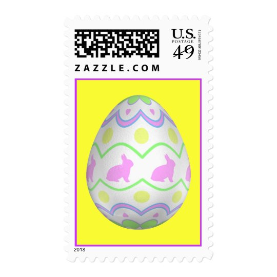 Bunny Egg Stamp on Yellow