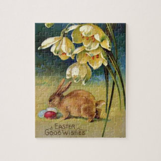 Bunny, Eggs, and Snowdrops, vintage 1910 Jigsaw Puzzle