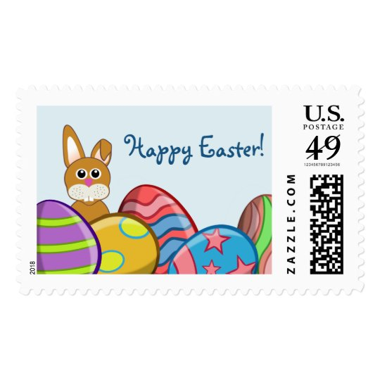 Bunny & Eggs Kids Easter US Postage Stamp
