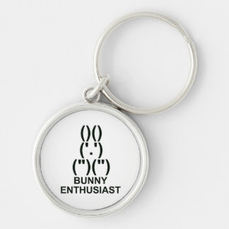 Bunny Enthusiast Silver-Colored Round Keychain