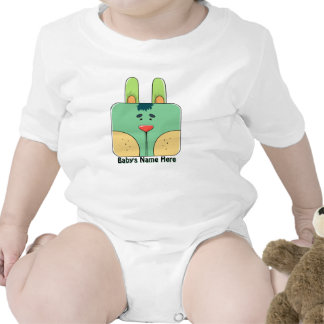 Bunny Face in Green - Personalized Infant Creeper