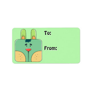 Bunny Face in Green (To-From Tags) Address Label