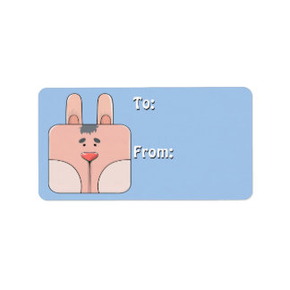 Bunny Face in Pink (To-From Tags) Personalized Address Labels