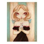 Bunny - fairy albino bunny postcard