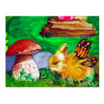 Bunny Fairy Watercolor Painting Postcard