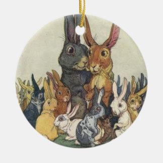 Bunny Family Ceramic Ornament