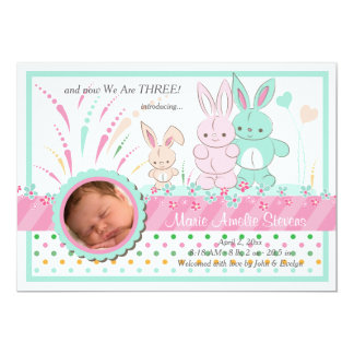 Bunny Family Photo Birth Announcement