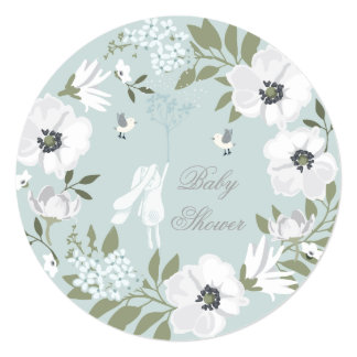 Bunny Floral Wreath Boy Baby Shower 5.25x5.25 Square Paper Invitation Card