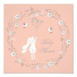Bunny Floral Wreath Dandelions Baby Shower Card