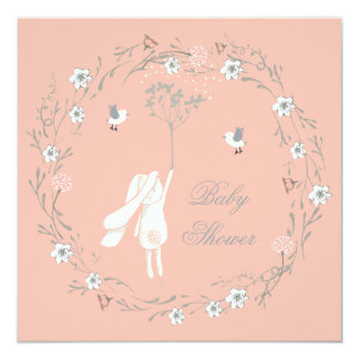 Bunny Floral Wreath Dandelions Baby Shower 5.25x5.25 Square Paper Invitation Card