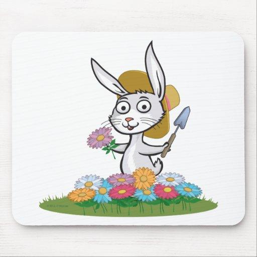 Bunny Flower Gardener Mouse Pad